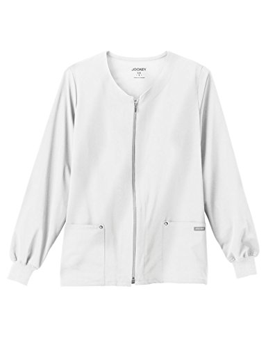 Classic Fit Collection by Jockey Women's V-Neck Zip Front Scrub Jacket Large White
