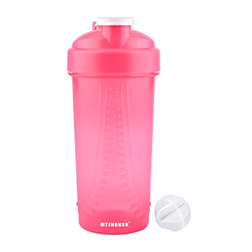 e,Protein Shaker Bottle,Sports Mixer Drinking Bottle,Big Shake Container with Ball,Shake Water Bottles Personal Blender Mini,Sports for Travel Bicycle Camping,28ounce 800ml (Pink) ()