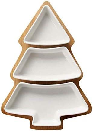 クリスマスツリー状セラミックフルーツキャンディ前菜食品保存ディッシュサイズ:28×20×1.5センチメートル