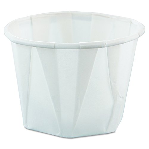 Solo 100-2050 1 oz White Treated Paper Pleated Souffle Porti