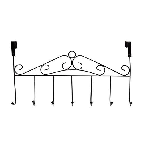 Over Door Hooks,Coat Hooks Rack,Ulifestar Kitchen Cabinet Drawer 7 Metal Hooks for Hanging Clothes Bath Towel Handbag Coat Hat Clothing Hanger Space Saving Storage & Organizer(Black)