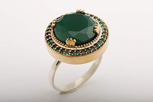 Ottoman Special Design Turkish Handmade Jewelry Round Cut Emerald 925 Sterling Silver Ring Size Option