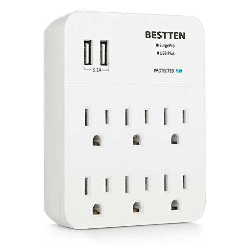 BESTTEN 6-Outlet Wall Surge Protector with 2 USB Charging Ports (3.1A Totally), Multiple Socket Splitter, Extend Decor/Duplex/GFCI/USB Receptacle, ETL Certified, White