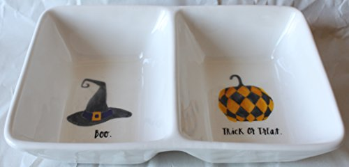 Rae Dunn Magenta Ceramic Halloween Double Dish Bowl