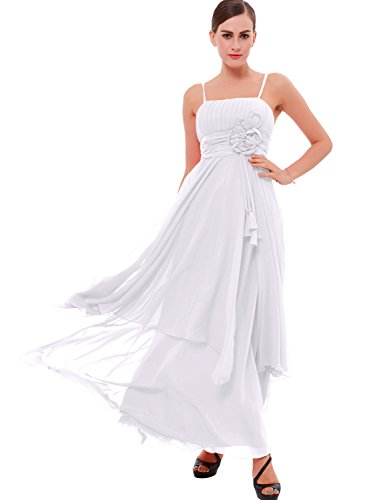 A-line Spaghetti Strap Evening Gown (Tanpell Women's A-Line Spaghetti Straps Flowers Ruched Prom Dress 2 White)