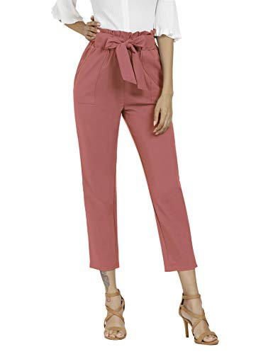 Aprance Pants for Women Casual Trouser Paper Bag Pants Elastic High Waist with Pockets CK_BRN_2XL Salmon Pink