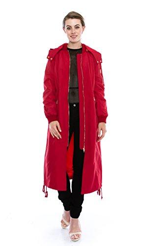 Daisy Women's Zipper Pocket Detail Hooded Long Waterproof Jacket. (M, RED)