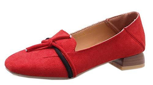 Easemax Femme Rouge Loafers Employée Mocassins Bout Talon Carré Petit Mignon DHb9WEIe2Y
