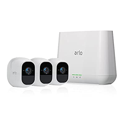 Arlo Pro 2 Home Security Camera System (3 Pack) with Siren, Wireless, Rechargeable, 1080p HD, Audio, Indoor or Outdoor, Night Vision, Compatible with Alexa (VMS4330P)