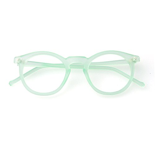 Beison Horn Rimmed Round Eyeglasses Frame Plain Glasses Clear Lens (Matte light green, - Glasses Matte