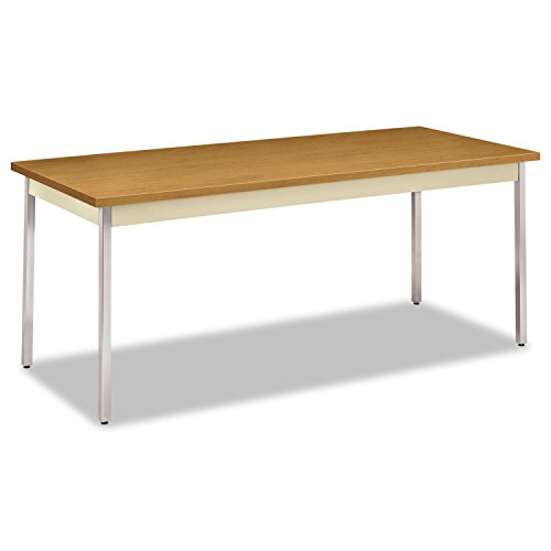 """HON HUTM3072.C.L.CHR Utility Table , 72""""W x 30""""D ,Harvest Laminate, Putty Finish,Chrome Leg Finish"""