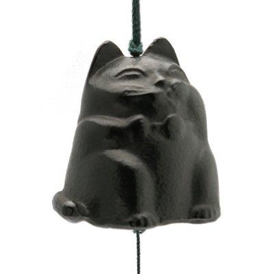 Kotobuki Iron Japanese Wind Chime, Black Cat #485-335