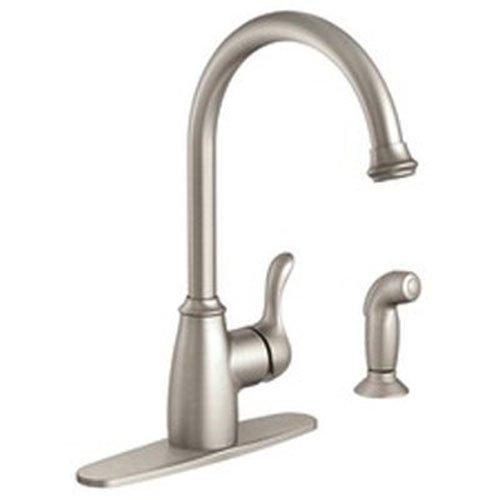 Moen 87313SRS Kitchen Faucet with Side Spray from the Finley Collection, Spot Resist Stainless ()