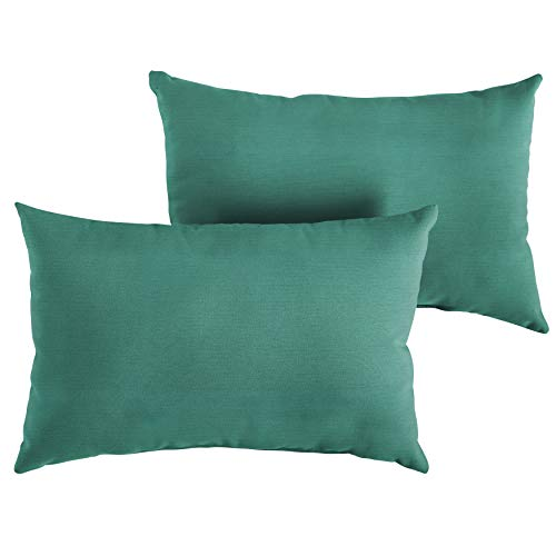 1101Design Sunbrella Canvas Teal Knife Edge Decorative Indoor/Outdoor Lumbar Throw Pillows, Perfect Patio Décor, (Canvas Teal Green 12