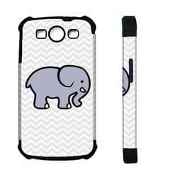 Houseofcases Cute Elephant On Grey Chevron Samsung Galaxy S3 SIII i9300 Case - Hybrid Plastic And Durable Silicon Samsung Galaxy S3 SIII i9300 Case