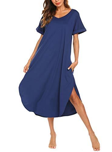 AVIIER Plus Size Lingerie Womens Short Sleeve Sleepwear T Shirt Nightie (Blue, XXL)