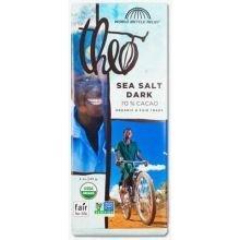 Theo Chocolate Organic Sea Salt 70 Percent Dark Chocolate Bar, 3 Ounce -- 12 per case.