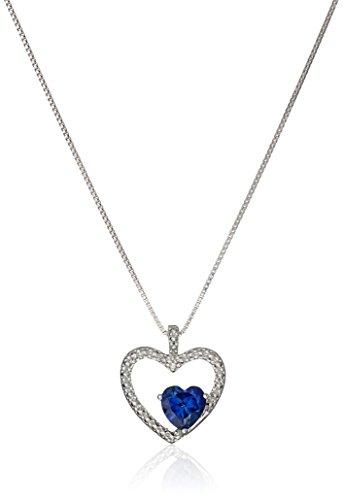Sterling Silver Created Sapphire and Diamond Accent Heart Pendant Necklace, 18