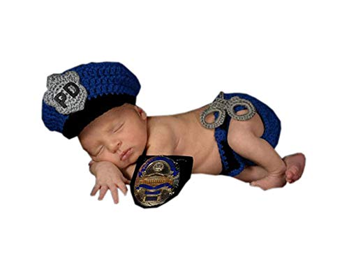 Pinbo Newborn Baby Boys Photography Prop Crochet Knitted Police Hat Diaper -
