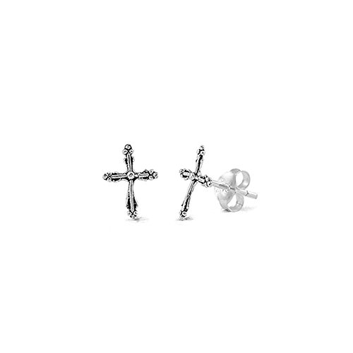 Noureda Sterling Silver Fancy Small Cross Stud Earrings with Friction Back Post, Height 10MM