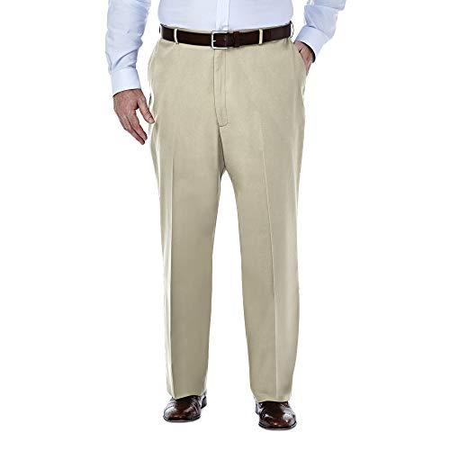 Haggar HC90884 Men's Big & Tall Premium No Iron Khaki Pant, Khaki - 38Wx36L