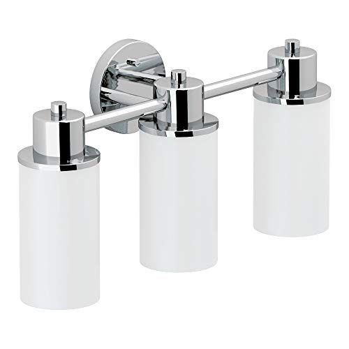 Moen DN0763CH Iso 3-Light Dual-Mount Bath Bathroom Vanity Fixture with Frosted Glass, -