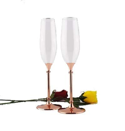 - Rose Gold Champagne Glasses by BXB   Set of 2   Elegant Finish & High Grade Crystal Glass   Perfect Toasting Flutes For Weddings, Gifts, Celebrations, and Special Occasions