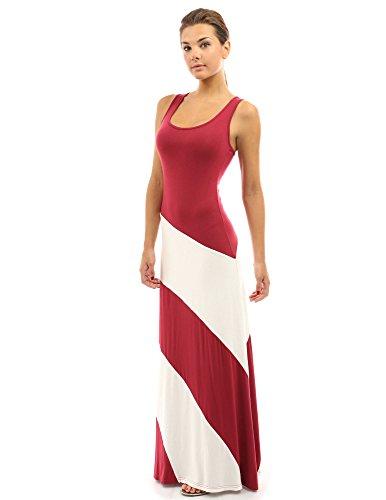 PattyBoutik Women Racerback Striped Maxi Dress (Red and Ivory White Medium)