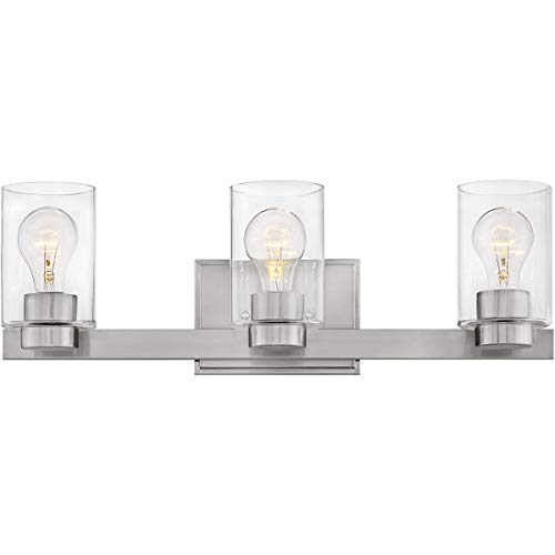 Bathroom Vanity 3 Light Fixtures with Brushed Nickel Finish Steel Material Medium Bulb 22