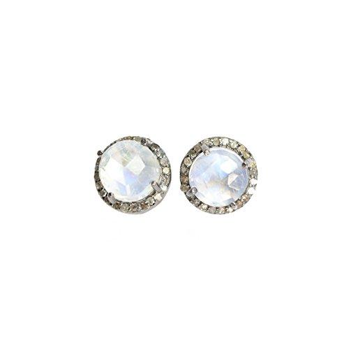 Rainbow Moonstone Diamond Round Halo Stud Earring Sterling Silver June birthstone - 10 (Diamond Moonstone Earrings)