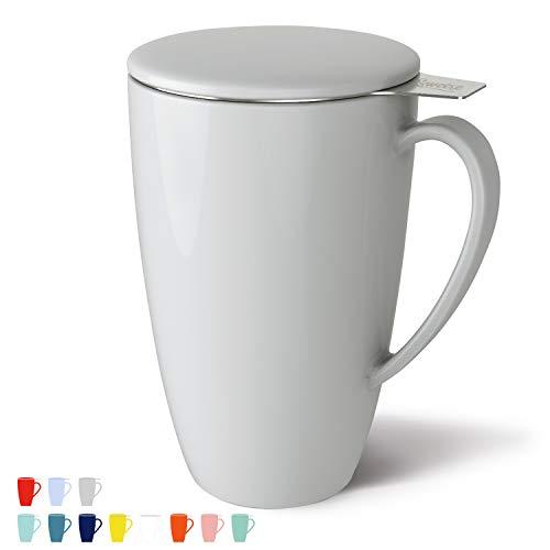 Sweese 201.111 Porcelain Tea Mug with Infuser and Lid, 15 OZ, Matte Lightgray