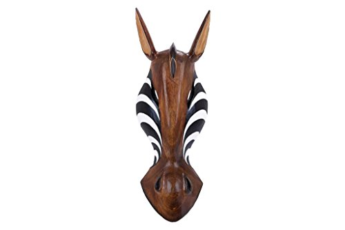 Deco 79 Wood Zebra Mask, 20 by 7-Inch -