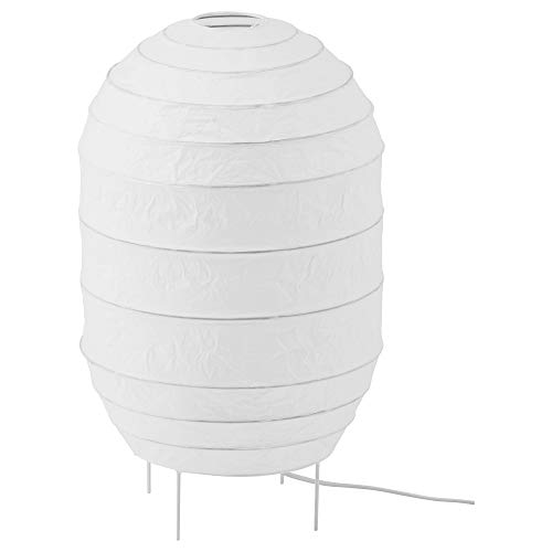 IKEA Storuman Paper Floor Lamp With 600 Lumen LED Light Bulbs; Round Oval White For Living Room or Bedroom, Home or Office