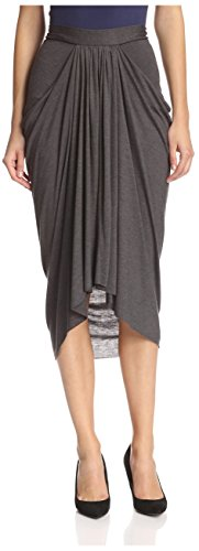 James & Erin Women's Front Gather Skirt, Charcoal, M by James & Erin