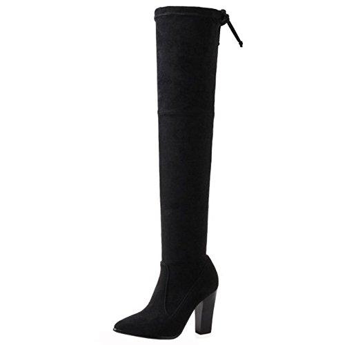 Women's Boots Zipper Tall Half Taoffen Black qwdO1wxEFz