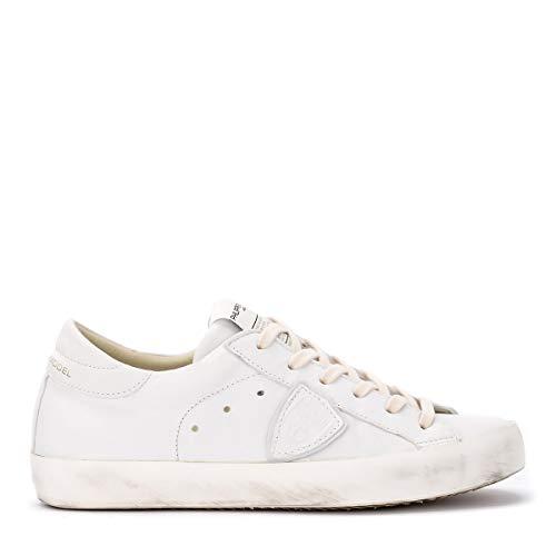 d177f2fe52fd4 PHILIPPE MODEL Woman s Sneaker Paris West in Morbida Pelle Bianca 38