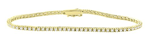 14K Yellow Gold 1.40 Carat (ctw) Natural Real White Diamond Tennis Bracelet For Women 7 Inches 14k Yellow Gold Tennis Bracelet