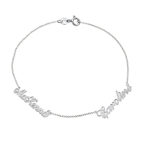 Ouslier 925 Sterling Silver Double Name Bracelet with Rollo Chain Custom Made with 2 Names (Rollo Chain Sterling Silver)