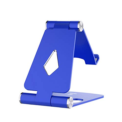Adjustable Cell Phone Stand - ToBeoneer Phone Holder for Desk, [Dual Angle] Portable Small Size Desktop Dock Compatible with iPhone XR XS X 9 8 7 6 Plus Samsung Google, Office Home Décor (Blue)