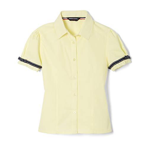 French Toast Big Girls' Short Sleeve Ribbon Bow Blouse, Yellow, 8
