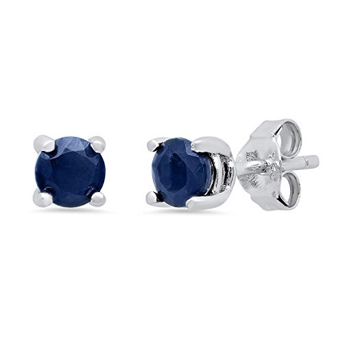 Genuine Sapphire Prong Set Round Stud Earrings in Sterling Silver (5mm)