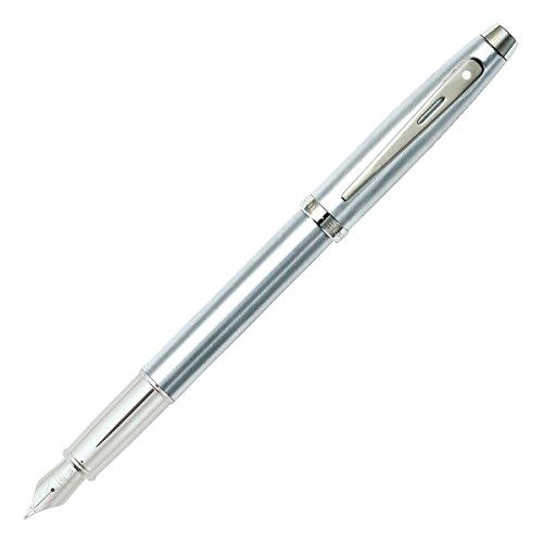 (Sheaffer 100 Brushed Chrome Fountain Pen with Chrome Trim and Fine Nib)