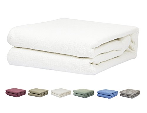 Twin/Full Size 100% Cotton Thermal Blanket (White Color)