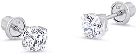925 Sterling Silver Rhodium Plated 4mm Cubic Zirconia Stud Screwback Baby Girls Earrings
