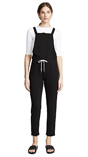 Monrow Women's Patch Pocket Overalls, Black, (French Terry Jumpsuit)