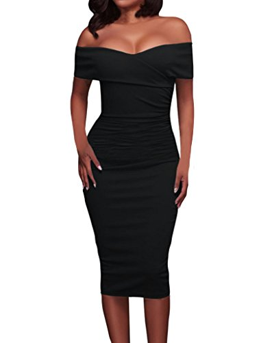 Tiksawon Womens Sexy Ruched Off Shoulder Bodycon Clubwear Stage Midi Dress