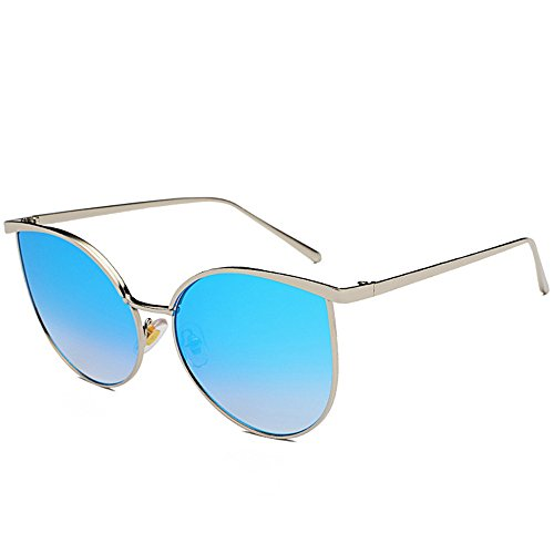 Silver Sunglasses Men's Aviator Unisex Retro DESESHENME Edge Style Lens Lens Blue Ladies Fashion BUvqwax