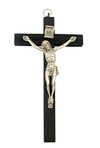 Black Wooden Cross with Silver Toned Christ Corpus Crucifix Pendant, 4 Inch
