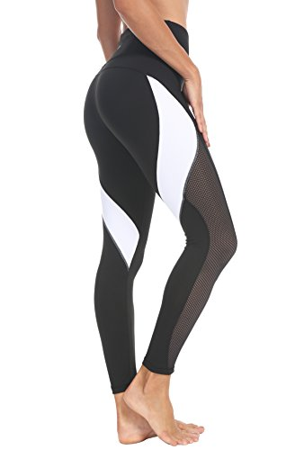 QUEENIEKE Women Yoga Pants Color Blocking Mesh Workout Running Leggings Tights Size M Color Black