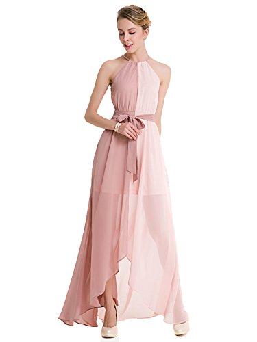 - Milumia Women's Color-Block Chiffon Loose Long Maxi Dress Pink Small
